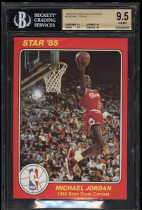 Image of: 1985 Star Slam Dunk Supers 5X7 Michael Jordan ROOKIE RC #5 BGS 9.5 GEM MT (PWCC)