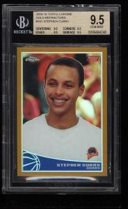 Image of: 2009 Topps Chrome Gold Refractor Stephen Curry ROOKIE RC /50 BGS 9.5 GEM (PWCC)