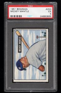 Image of: 1951 Bowman Mickey Mantle ROOKIE RC #253 PSA 5 EX (PWCC)