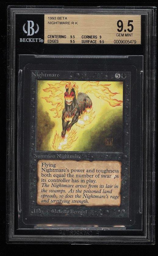 Image of: 1993 Magic The Gathering MTG Beta Nightmare R K BGS 9.5 GEM MINT (PWCC)