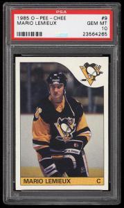 Image of: 1985 O-Pee-Chee Hockey Mario Lemieux ROOKIE RC #9 PSA 10 GEM MINT (PWCC)
