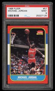Image of: 1986 Fleer Basketball Michael Jordan ROOKIE RC #57 PSA 9 MINT (PWCC)