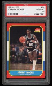 Image of: 1986 Fleer Basketball Johnny Moore #76 PSA 10 GEM MINT (PWCC)