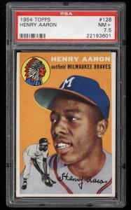 Image of: 1954 Topps Hank Aaron ROOKIE RC #128 PSA 7.5 NRMT+ (PWCC)