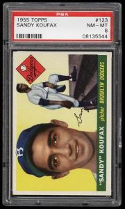 Image of: 1955 Topps Sandy Koufax ROOKIE RC #123 PSA 8 NM-MT (PWCC)