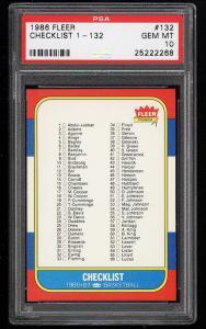 Image of: 1986 Fleer Basketball Checklist 1-132 #132 PSA 10 GEM MINT (PWCC)