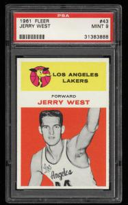 Image of: 1961 Fleer Basketball Jerry West ROOKIE RC #43 PSA 9 MINT (PWCC)