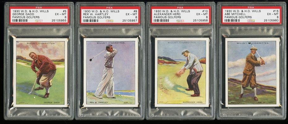 Image of: Lot(4) 1930 Wills Famaous Golfers w/ Abe Mitchell Gadd Hartley, ALL PSA 6 (PWCC)