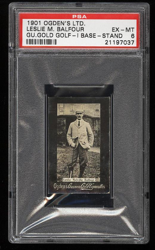 Image of: 1901 Ogden's Gold Golf I Base Stand Leslie Balfour ROOKIE RC PSA 6 EXMT(PWCC)