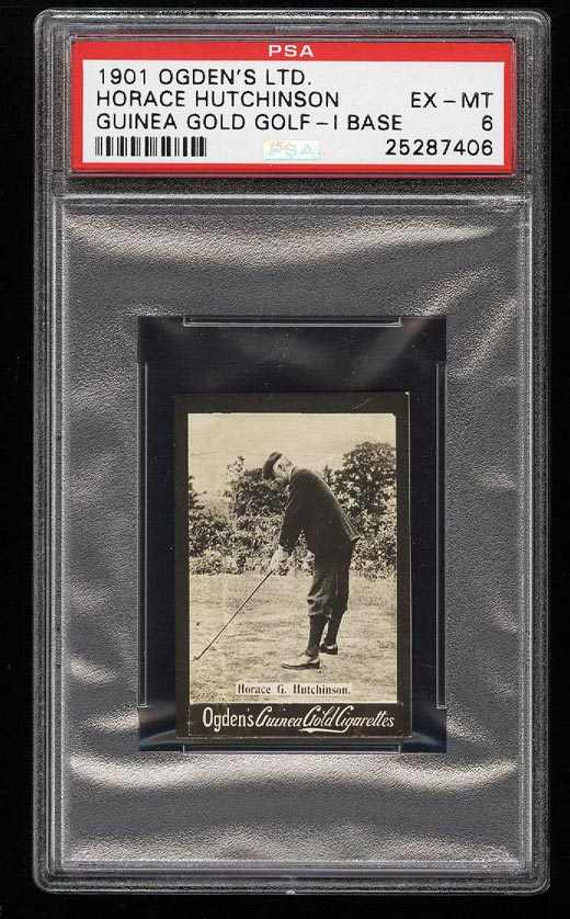 Image of: 1901 Ogden's Gold Golf I Base Horace Hutchinson ROOKIE RC PSA 6 EXMT (PWCC)