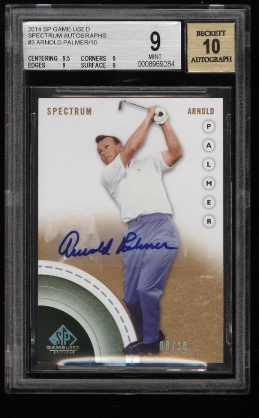 Image of: 2014 SP Game Used Spectrum Arnold Palmer AUTO /10 #3 BGS 9 MINT (PWCC)
