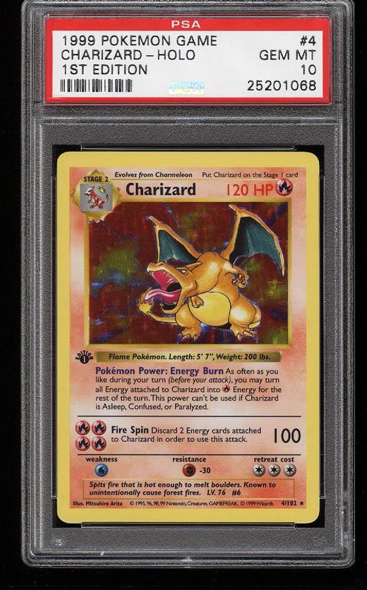 Image of: 1999 Pokemon Game 1st Edition Holo Charizard #4 PSA 10 GEM MINT (PWCC)