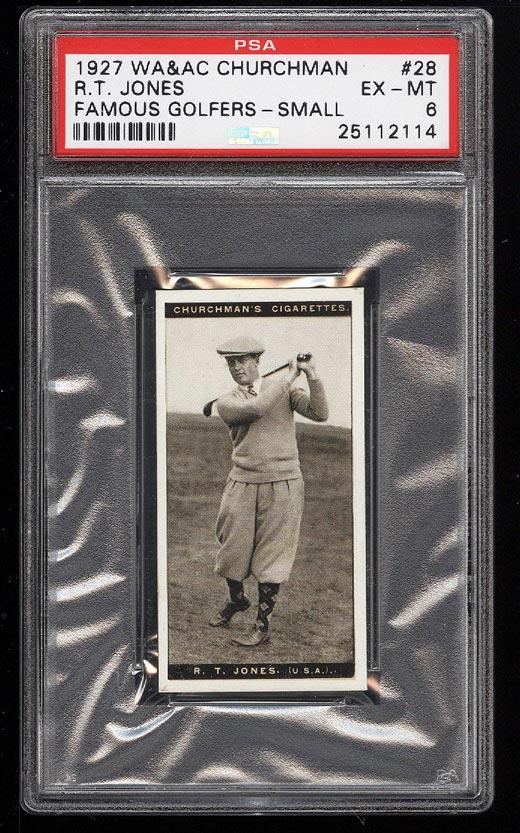 Image of: 1927 Churchman Famous Golfers Small Bobby Jones #28 PSA 6 EXMT (PWCC)