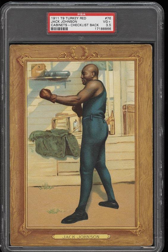 Image of: 1911 T9 Turkey Red Boxing Jack Johnson CHECKLIST #76 PSA 3.5 VG+ (PWCC)