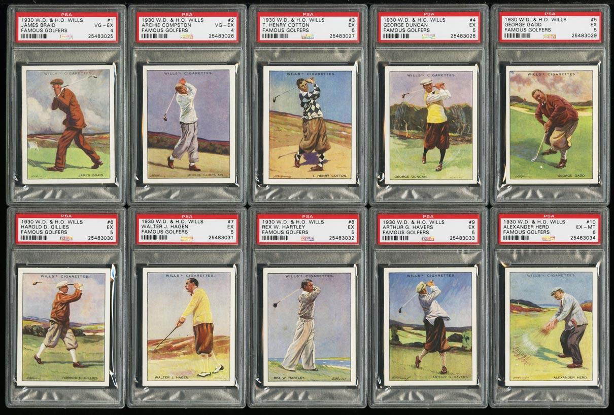 Image of: 1930 WD & HO Wills Famous Golfers COMPLETE PSA SET Walter Hagen & Vardon (PWCC)