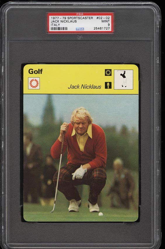 Image of: 1977 Sportscaster Italy Golf Jack Nicklaus #02-02 PSA 9 MINT (PWCC)
