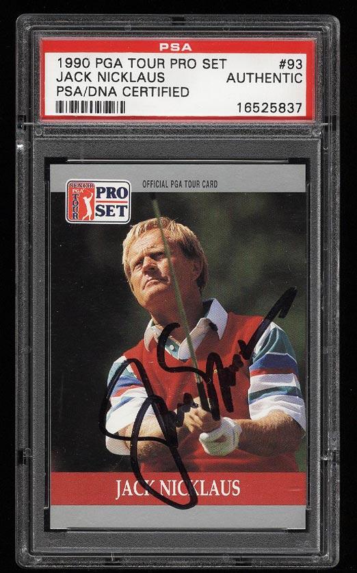 Image of: 1990 Pro Set PGA Tour Jack Nicklaus PSA/DNA AUTO #93 PSA AUTH (PWCC)