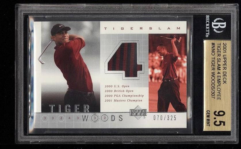 Image of: 2001 UD Tiger Slam 4 Employee Tiger Woods ROOKIE RC PATCH /325 BGS 9.5 (PWCC)