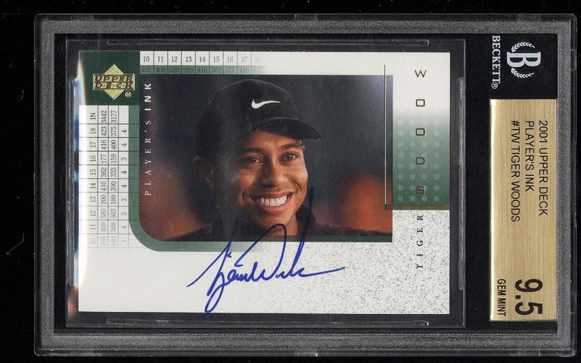 Image of: 2001 Upper Deck Player's Ink Tiger Woods ROOKIE AUTO #TW BGS 9.5 GEM MINT (PWCC)