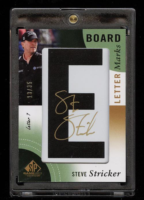 Image of: 2013 SP Game Used Golf Letter Marks Steve Stricker AUTO PATCH /35 #LL-SS (PWCC)