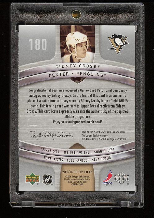 Image 2 of: 2005 The Cup Hockey Sidney Crosby ROOKIE RC AUTO 2-CLR PATCH /99 #180 (PWCC)