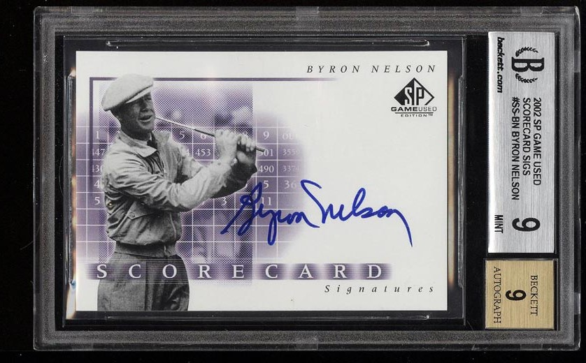 Image of: 2002 SP Game Used Scorecard Signatures Byron Nelson AUTO #SSBN BGS 9 MINT (PWCC)