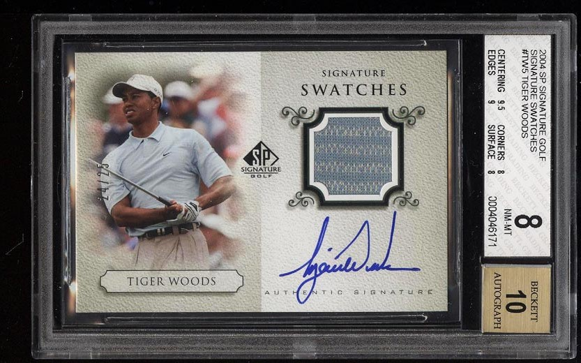 Image of: 2004 SP Signature Golf Swatches Tiger Woods AUTO PATCH /25 BGS 8 NM-MT (PWCC)