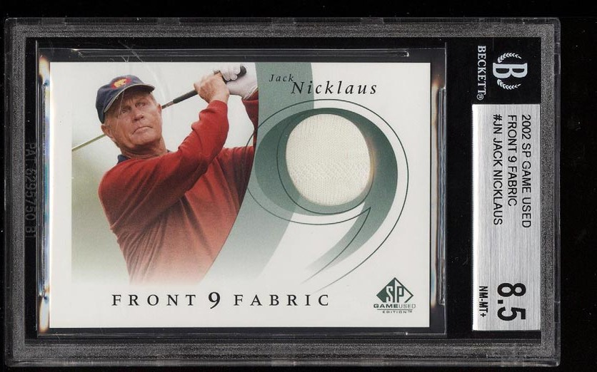 Image of: 2002 SP Game Used Front 9 Fabric Jack Nicklaus PATCH #JN BGS 8.5 NM-MT+ (PWCC)