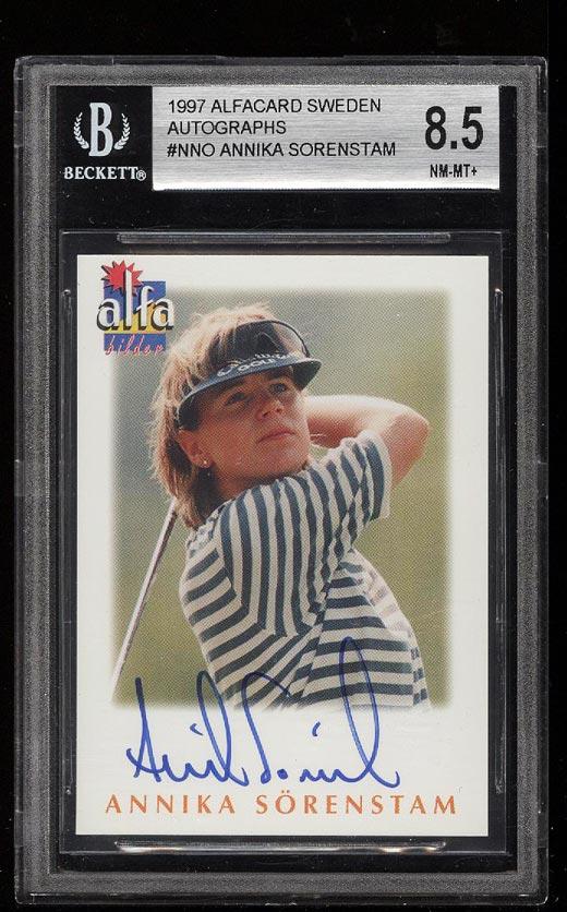 Image of: 1997 Alfacard Sweden Golf Annika Sorenstam AUTO /200 BGS 8.5 NM-MT+ (PWCC)