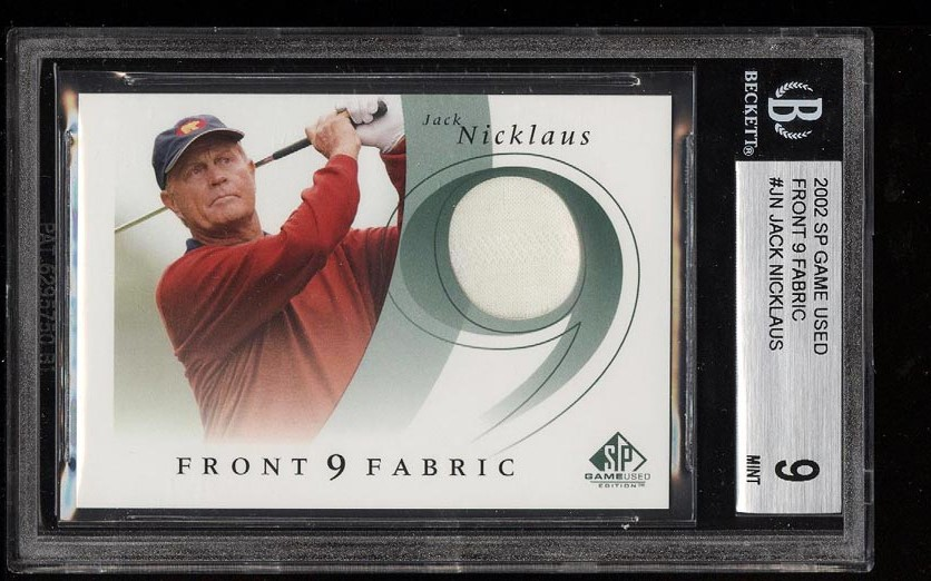 Image of: 2002 SP Game Used Front 9 Fabric Jack Nicklaus PATCH #JN BGS 9 MINT (PWCC)