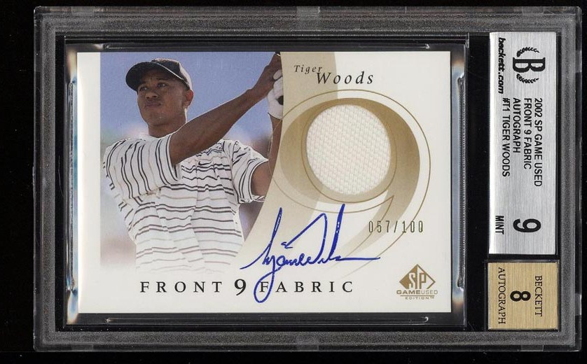 Image of: 2002 SP Game Used Front 9 Fabric Tiger Woods AUTO PATCH /100 BGS 9 MINT (PWCC)