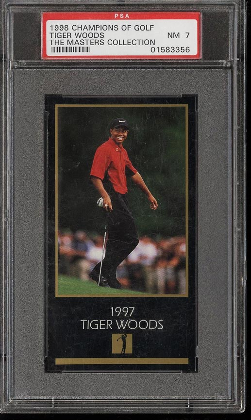 Image of: 1998 Champions Golf Masters Collection Tiger Woods ROOKIE RC PSA 7 NRMT (PWCC)