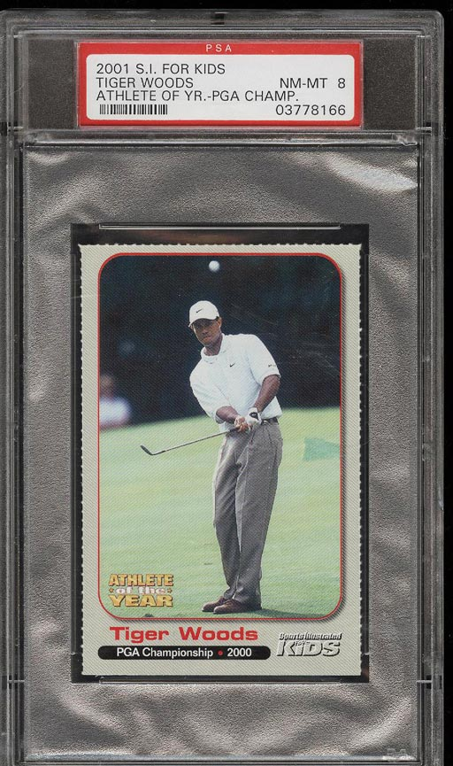 Image of: 2001 Sports Illustrated For Kids Athlete Of Year Tiger Woods ROOKIE PSA 8 (PWCC)