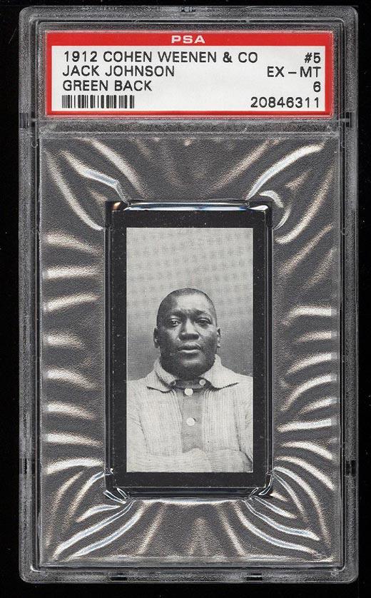 Image of: 1912 Cohen Weenen Boxing Jack Johnson GREEN BACK #5 PSA 6 EXMT (PWCC)
