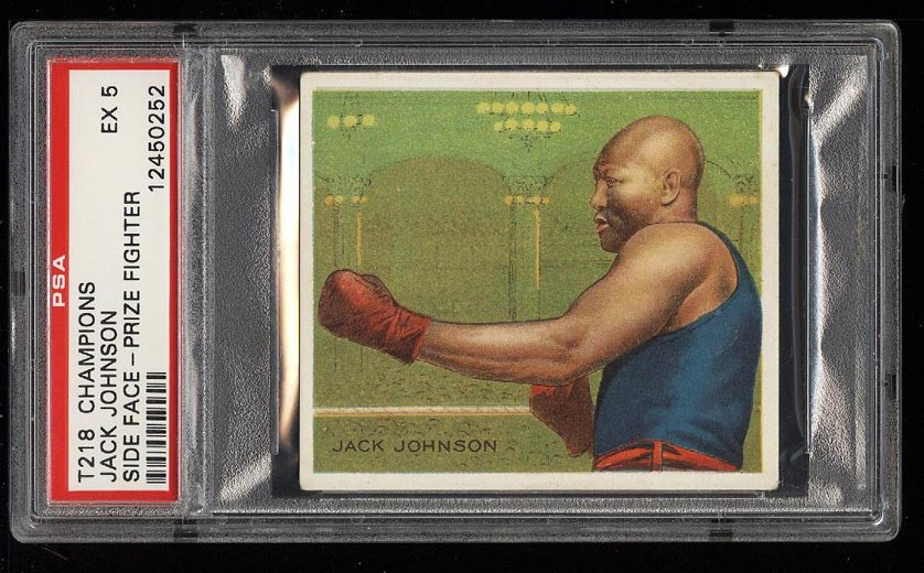 Image of: 1910 T218 Champions Prize Fighter Jack Johnson SIDE FACE PSA 5 EX (PWCC)