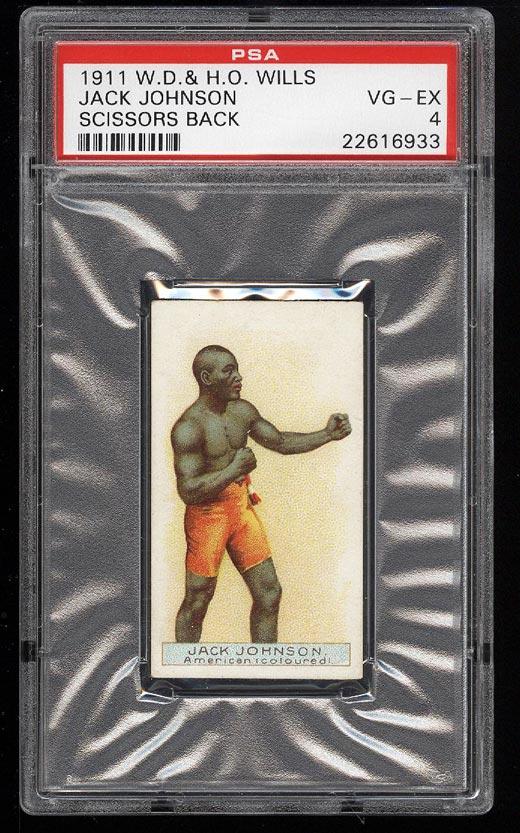 Image of: 1911 Wills Boxing Green Scissors Back Jack Johnson PSA 4 VGEX (PWCC)
