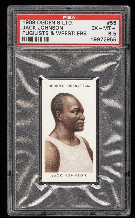 Image of: 1909 Ogden's Pugilists Wrestlers Jack Johnson #55 PSA 6.5 EXMT+ (PWCC)