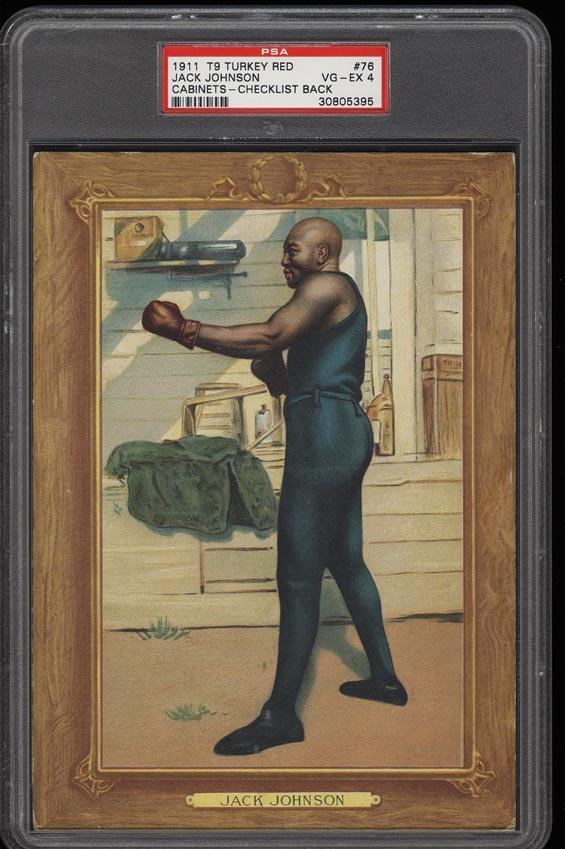Image of: 1911 T9 Turkey Red Boxing Jack Johnson CHECKLIST #76 PSA 4 VGEX (PWCC)