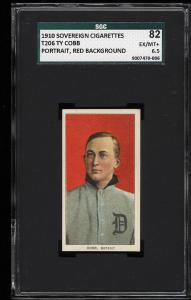 Image of: 1909-11 T206 Ty Cobb RED PORTRAIT, SOVEREIGN SGC 6.5/82 EXMT+ (PWCC)