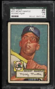 Image of: 1952 Topps Mickey Mantle #311 SGC 1.5/20 FR+ (PWCC)
