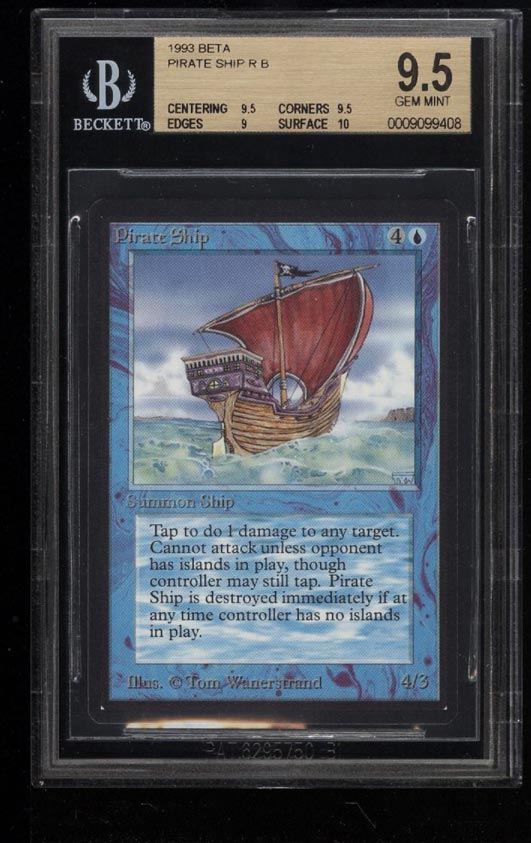 Image of: 1993 Magic The Gathering MTG Beta Pirate Ship R B BGS 9.5 GEM MINT (PWCC)