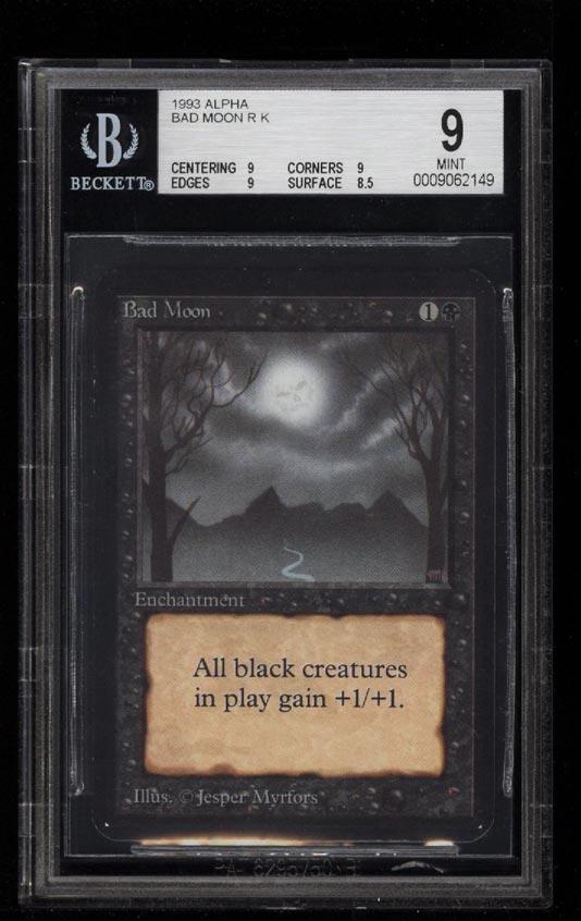 Image of: 1993 Magic The Gathering MTG Alpha Bad Moon R K BGS 9 MINT (PWCC)