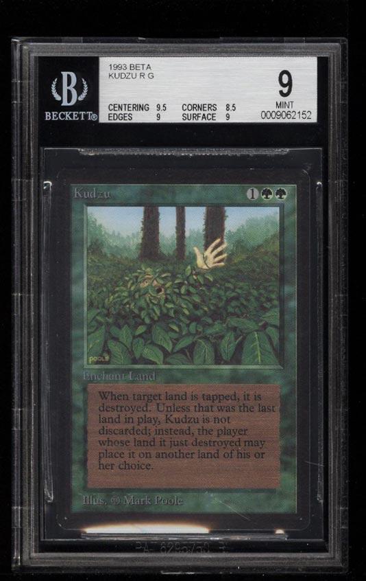 Image of: 1993 Magic The Gathering MTG Beta Kudzu R G BGS 9 MINT (PWCC)