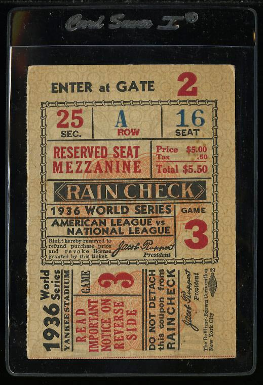 Image of: 1936 New York Yankees vs Giants WS Game 3 Ticket Stub, Lou Gehrig HR Auth (PWCC)