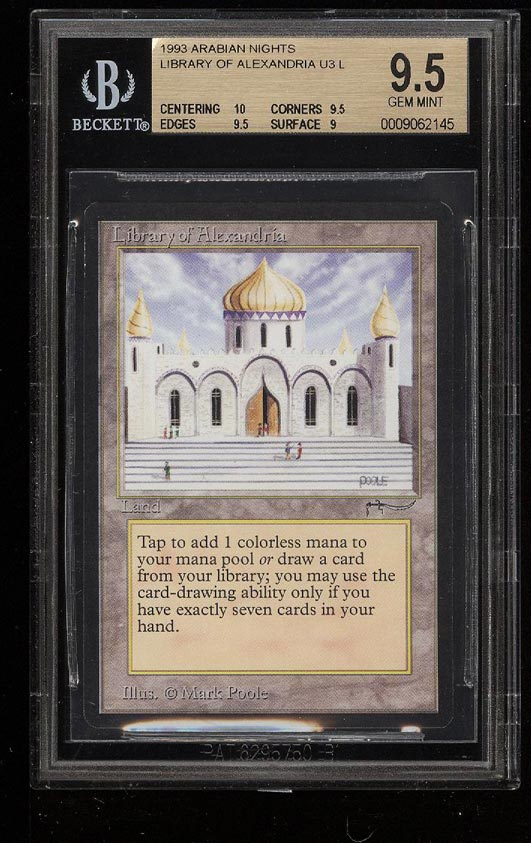 Image of: 1993 Magic The Gathering MTG Arabian Nights Library Of Alexandria BGS 9.5 (PWCC)