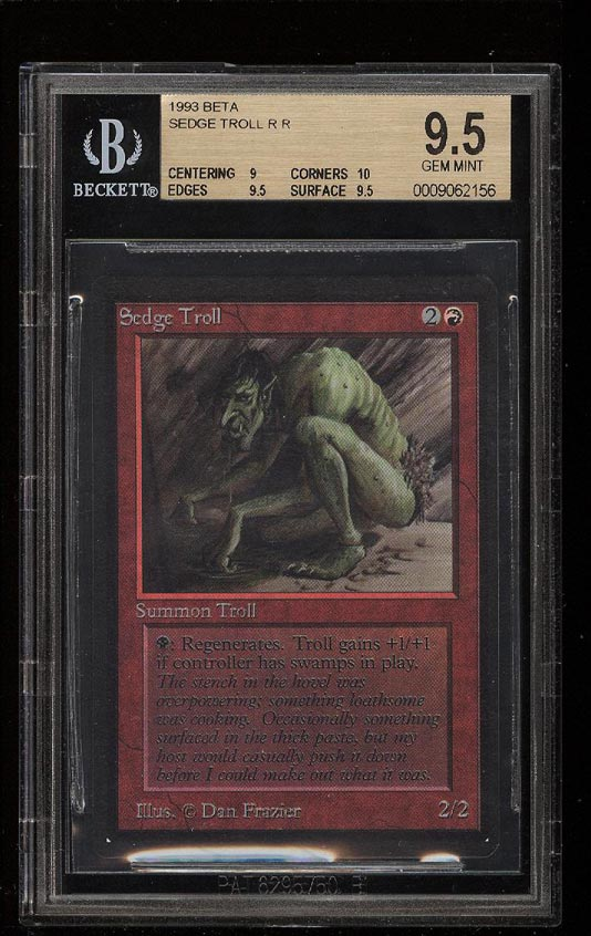 Image of: 1993 Magic The Gathering MTG Beta Sedge Troll R R BGS 9.5 GEM MINT (PWCC)