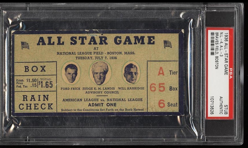 Image of: 1936 All-Star Game Ticket Stub Braves Field, Boston PSA AUTH (PWCC)