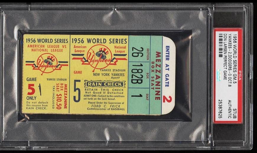 Image of: 1956 World Series Game 5 Ticket Stub Don Larsen Perfect Game PSA AUTH (PWCC)