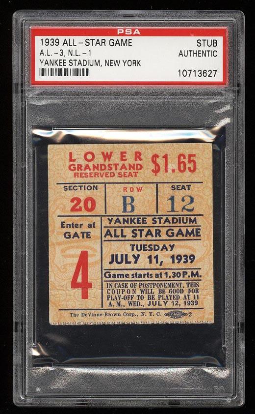 Image of: 1939 All-Star Game Ticket Stub Yankees Stadium, New York PSA AUTH (PWCC)
