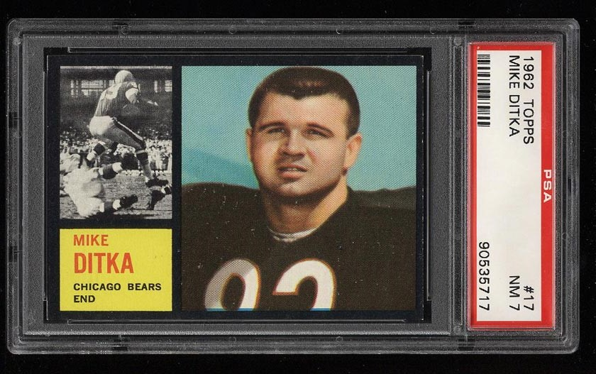 Image of: 1962 Topps Football Mike Ditka ROOKIE RC #17 PSA 7 NRMT (PWCC)